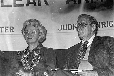 Patrick White and Judith Wright at a Nuclear Arms Race meeting