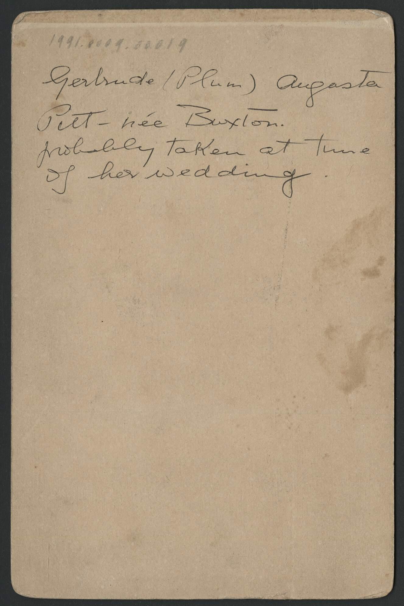 Studio portrait of Gertrude Pitt, nee Buxton